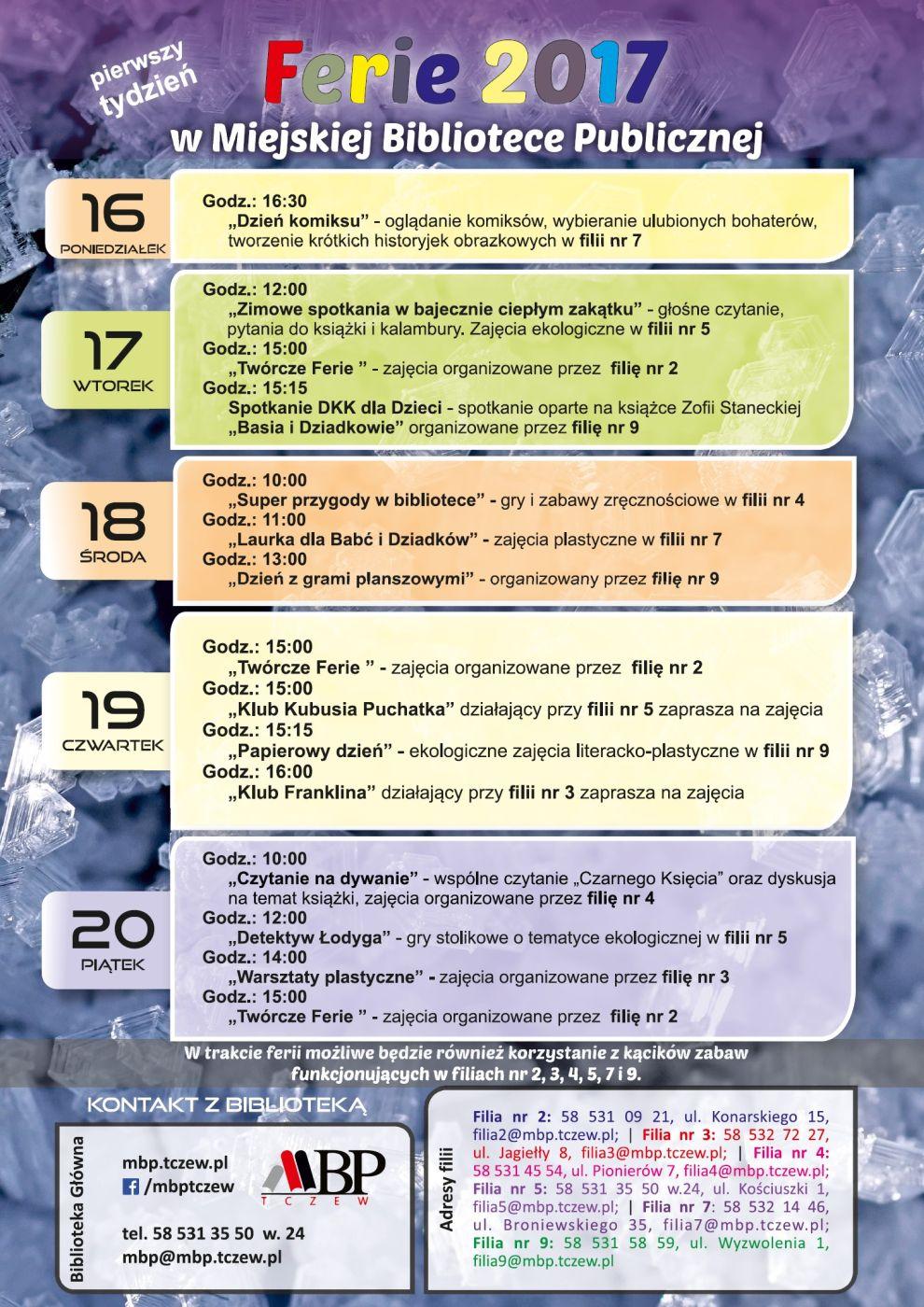 Plan pierwszego tygodnia ferii zimowych wBibliotece wroku 2017