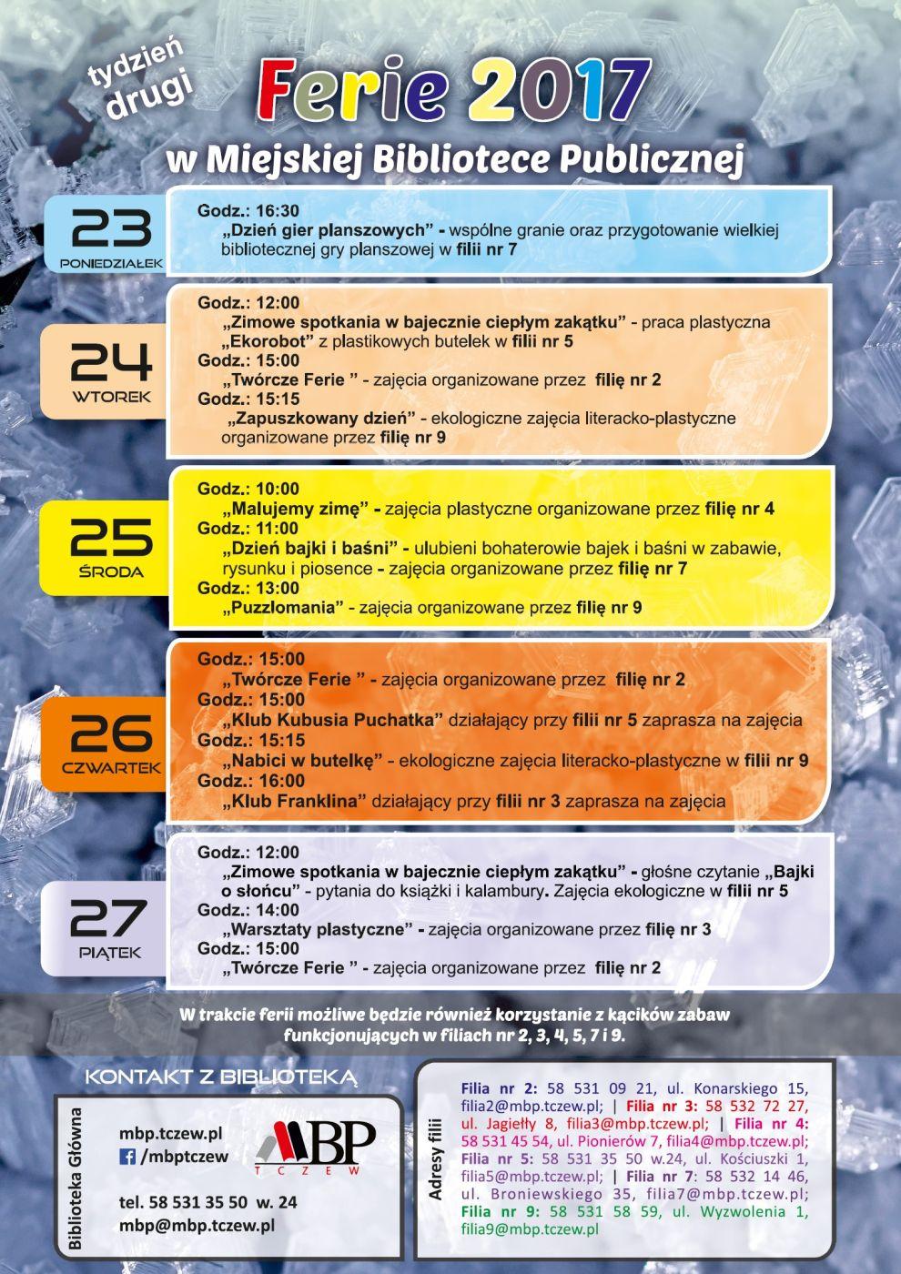 Plan drugiego tygodnia ferii zimowych wBibliotece wroku 2017