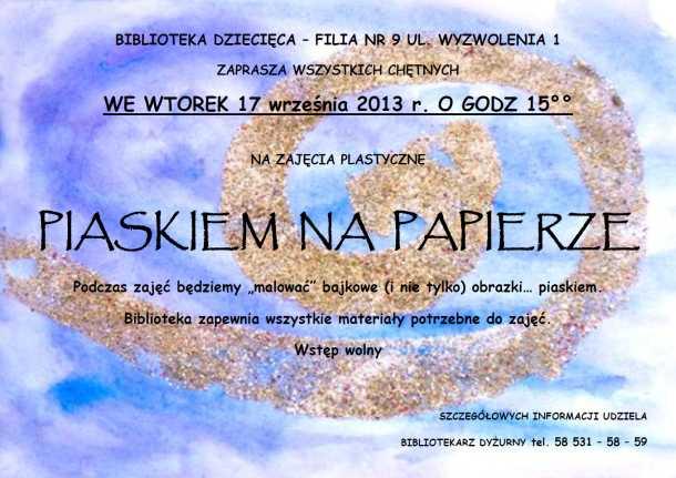 zajęcia plastyczne Piaskiem na papierze