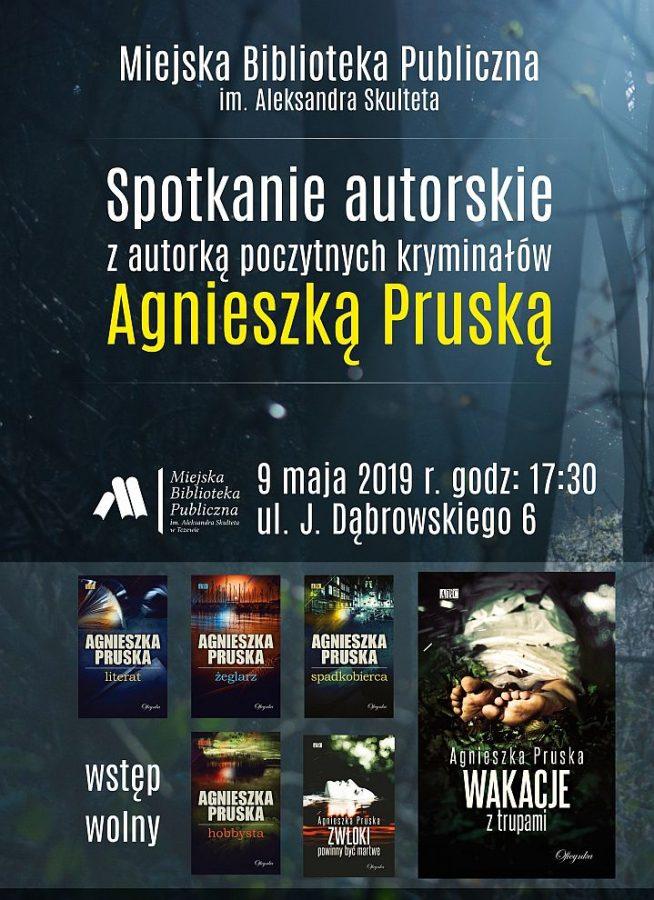 Plakat promocyjny na spotkanie z Agnieszka Pruską