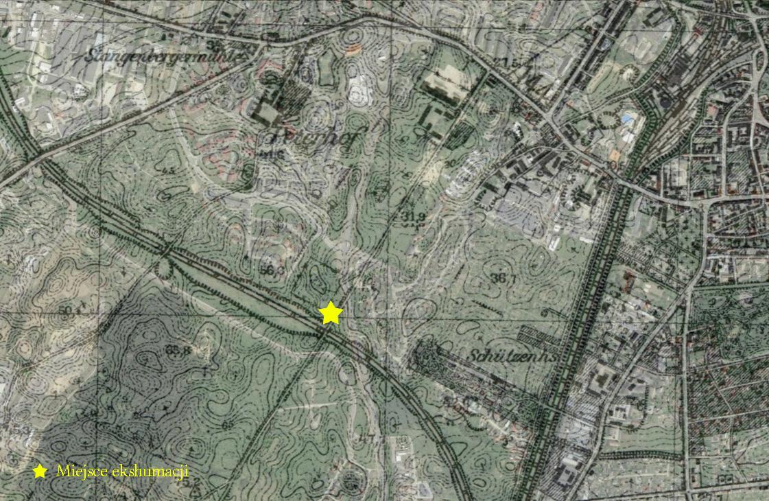 Kontury zmapy z1942 r. nałożone nawspółczesny widok satelitarny zGoogle Maps.