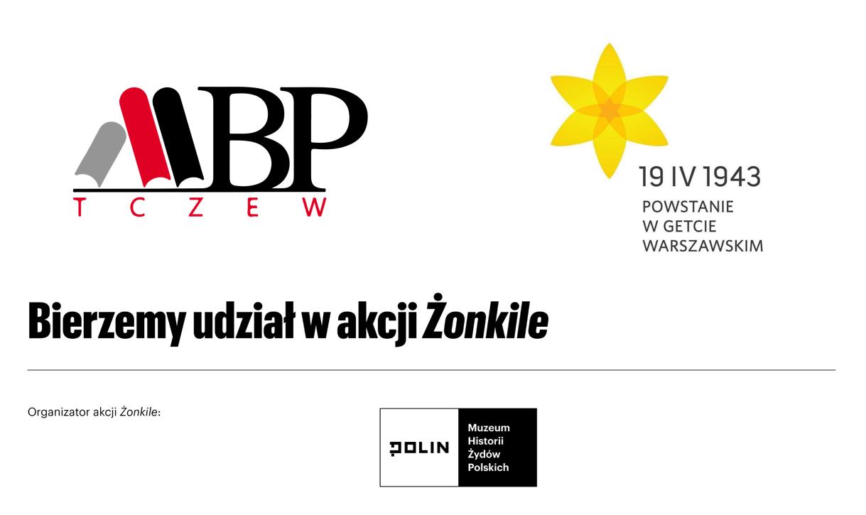 Logo akcji Żonkile 2021, organizator: Muzeum Historii Żydów Polskich POLIN, orazMiejska Biblioteka Publiczna wTczewie